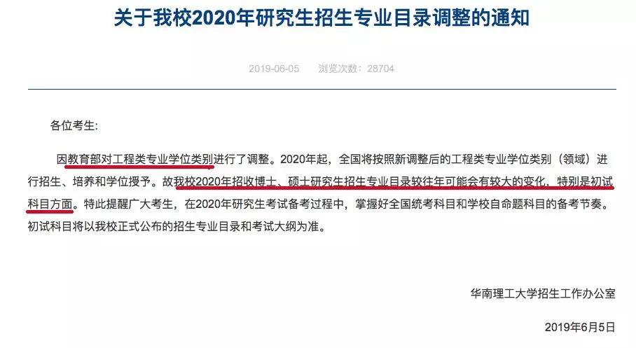华南理工大学考研初试科目调整